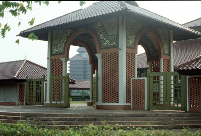 The University Mosque is situated in the centre of the new campus of the University of Indonesia in Depok. It is designed primarily to accommodate about 3,000 worshippers under the covered space and can be extended up to 5,000 uncovered. The basic design concept is derived from the general type of masjids in Indonesia which are characterized by their multi-tiered roof.