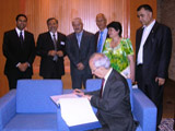 Dr Daftary Signing guestbook at the Ismaili Centre Dushanbe in the presence of Ismaili community and IIS representatives IIS 2011.