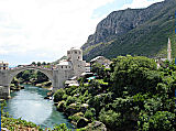 View of the Stari Most over the Neretva River in Mostar