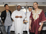 Shiekh Abdel Kader Haidara of Mamma Haidara Library (second from left) with Wesley Oakes and Remi Warner of York University IIS 2011.