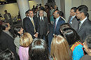 Prince Rahim shares a laugh with IIS alumni from the North American Chapter Group and Dr. Farhad Daftary