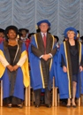 Honorary Graduands Marjorie Blackman, Richard Martineau and Lady Elizabeth Vallance