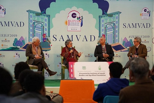 Writer, politician and lawyer Salman Khurshid; writer and historian Rana Safvi; Professor of Anthropology Zulfikar Hirji and Max Rodenbeck, South Asia bureau chief for The Economist in conversation at this year's Jaipur Literature Festival.