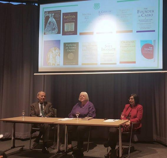 Dr Farhad Daftary, Professor Carole Hillenbrand and Dr Shainool Jiwa at the book launch of The Fatimid Caliphate: Diversity of Traditions at the University of Edinburgh.
