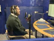 Author Stephen Burge in the recording studio