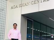 Rafiq outside the Aga Khan Centre London